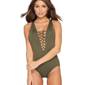 Michael Kors Lace Up Cross Back One Piece Swimsuit